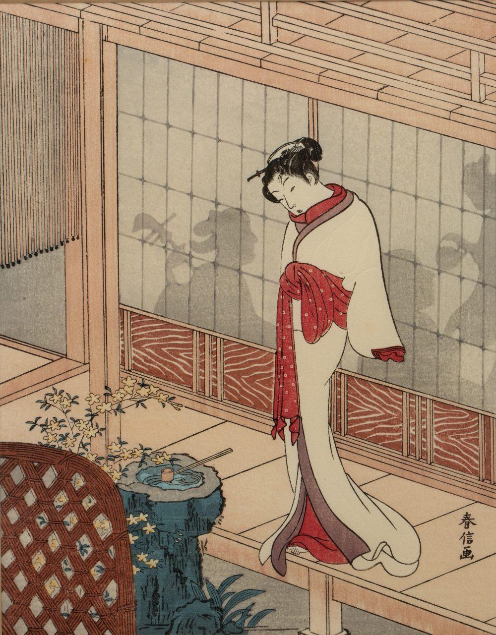 Suzuki Harunobu (1724/25-1770) 'Beautiful woman on the edge of a veranda' Japanese woodblock, 23.5cm