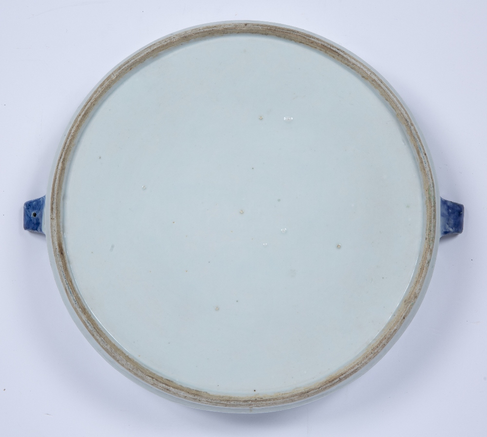 Blue and white porcelain plate warmer Chinese, 19th Century decorated to the centre with a river - Image 2 of 3