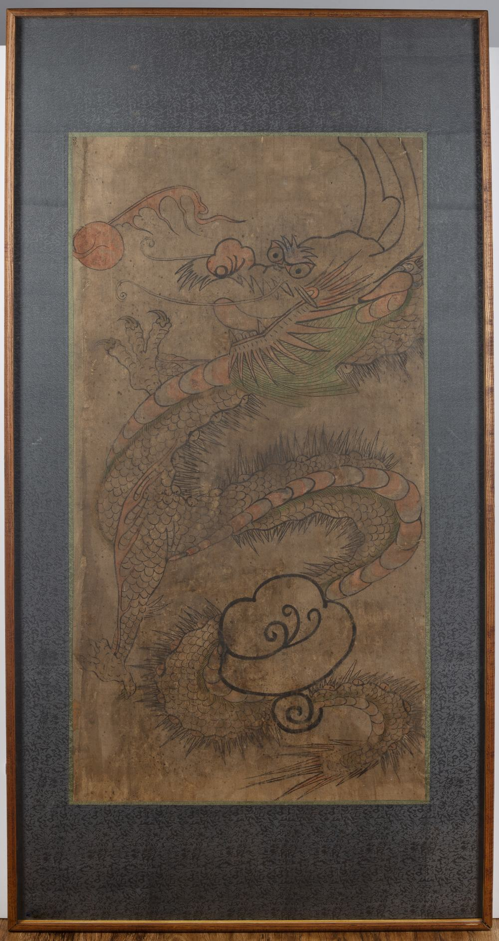Framed scroll of a dragon Chinese depicted in flight amongst clouds chasing a flaming pearl, 87cm - Image 2 of 3