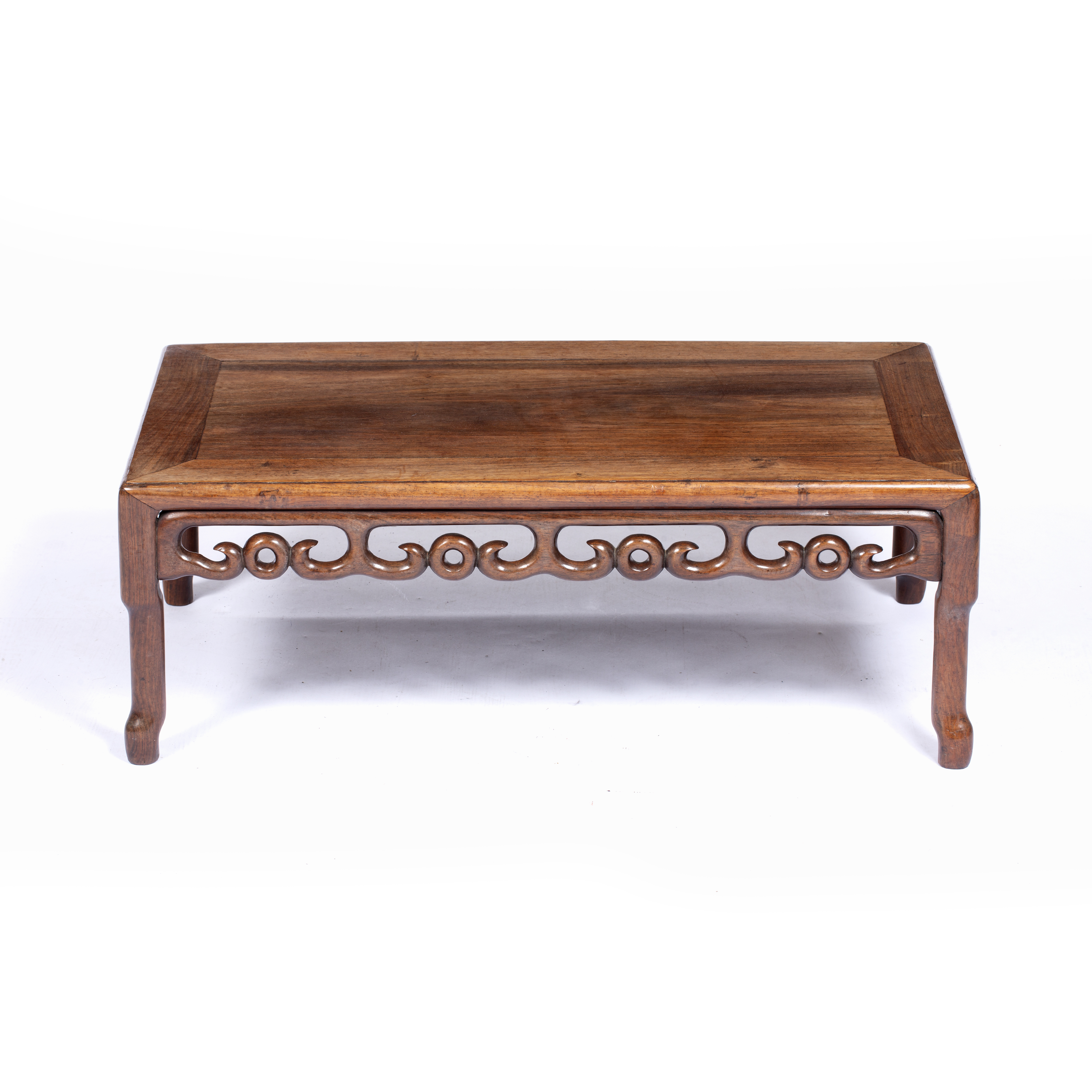 Low table Chinese carved all around with cloud motifs to the rails, 27.5cm high, 75cm wide, 40cm
