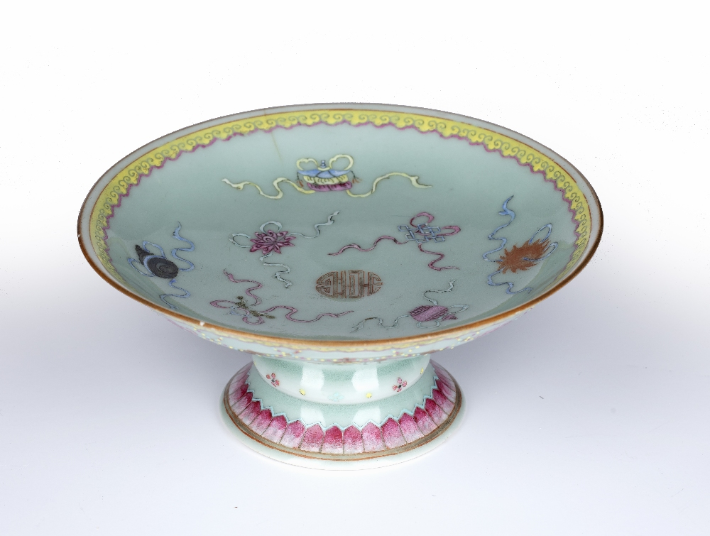 Celadon tazza Chinese, 19th Century decorated to the top with bajixiang, with similar decoration