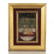 Painted miniature Indian depicting a courting couple outside, painted on marble, framed and