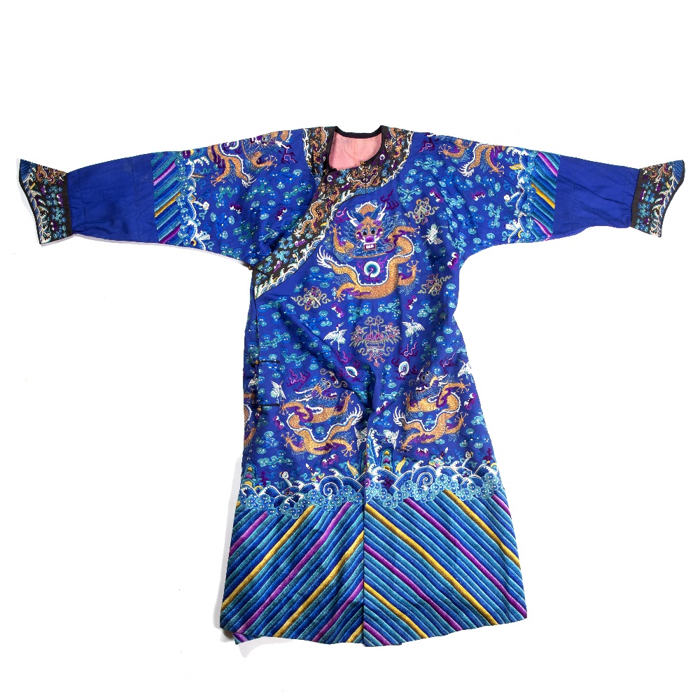 Silk dragon robe Chinese decorated to the centre with a five clawed dragon, with two further dragons