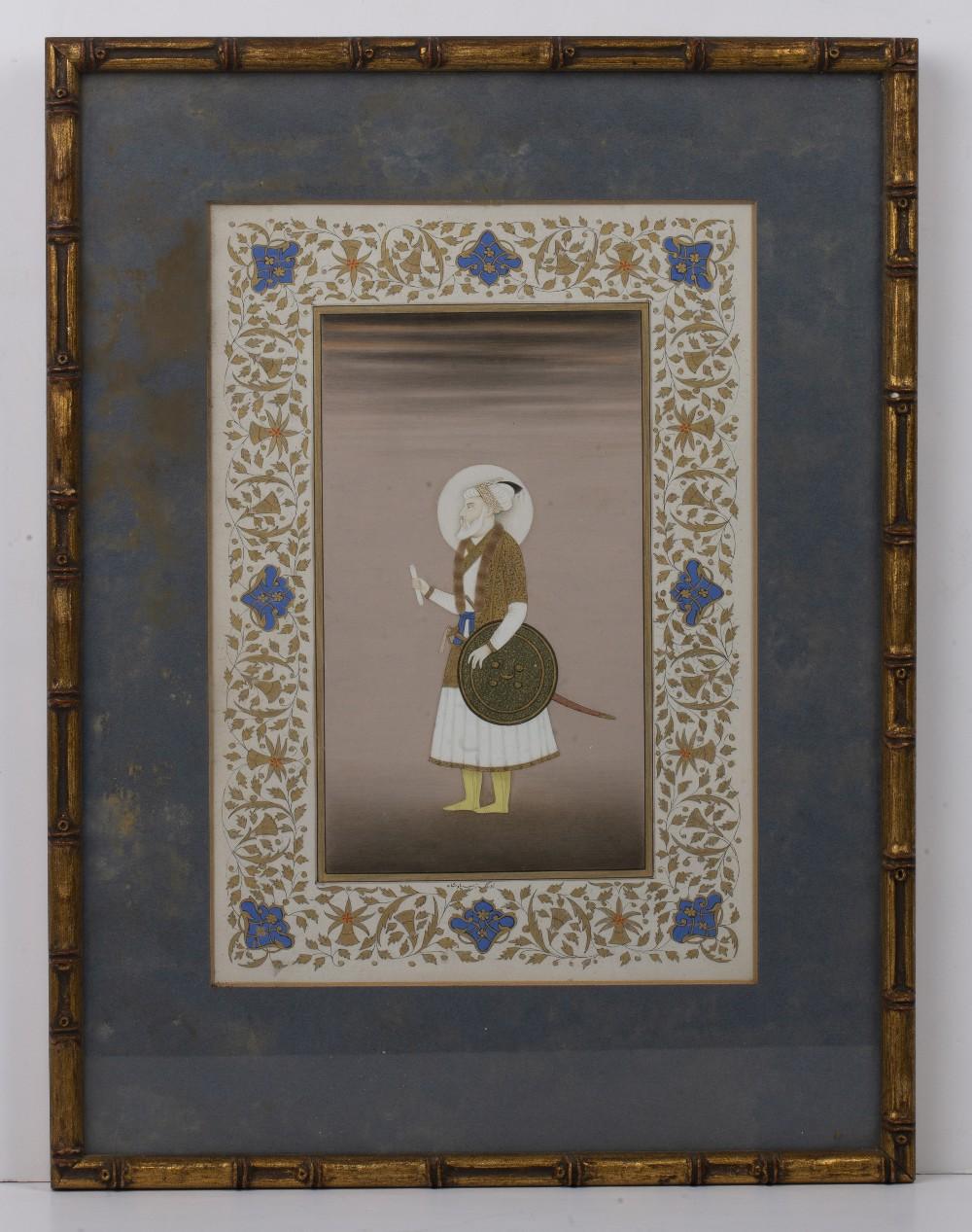 Ustad Haji Muhammad Sharif (1889-1978) 'Aurangzeb, Mughal Emperor of India' painting on paper, - Image 2 of 3