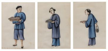 Collection of three pith or rice paper studies of various figures at work, unsigned, each measures