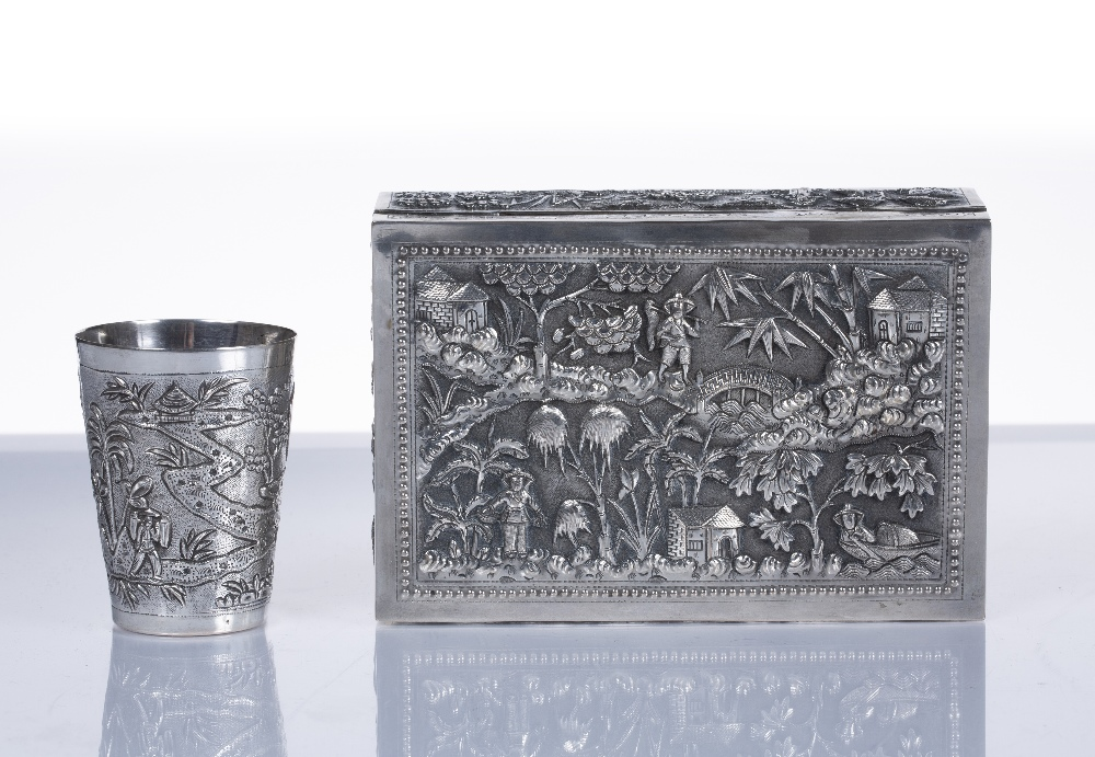 """White metal box Vietnamese embossed with bridges, fishermen and buildings to each side, impressed """" - Image 3 of 3"""
