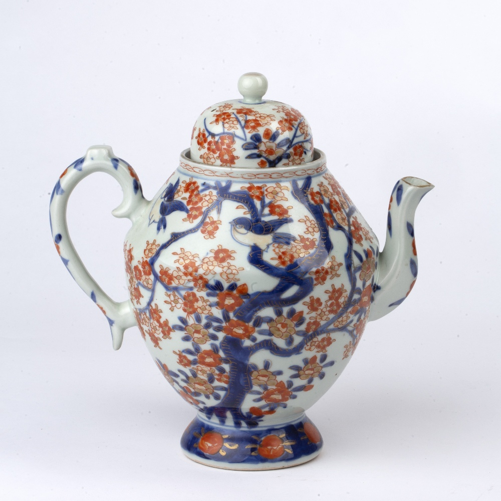 Imari teapot Japanese, 19th Century of ovoid form, painted with blossom and birds, 23cm high - Image 2 of 4