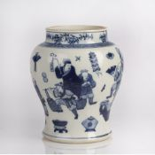 Blue and white baluster vase Chinese decorated to the exterior with boys playing with kites, four