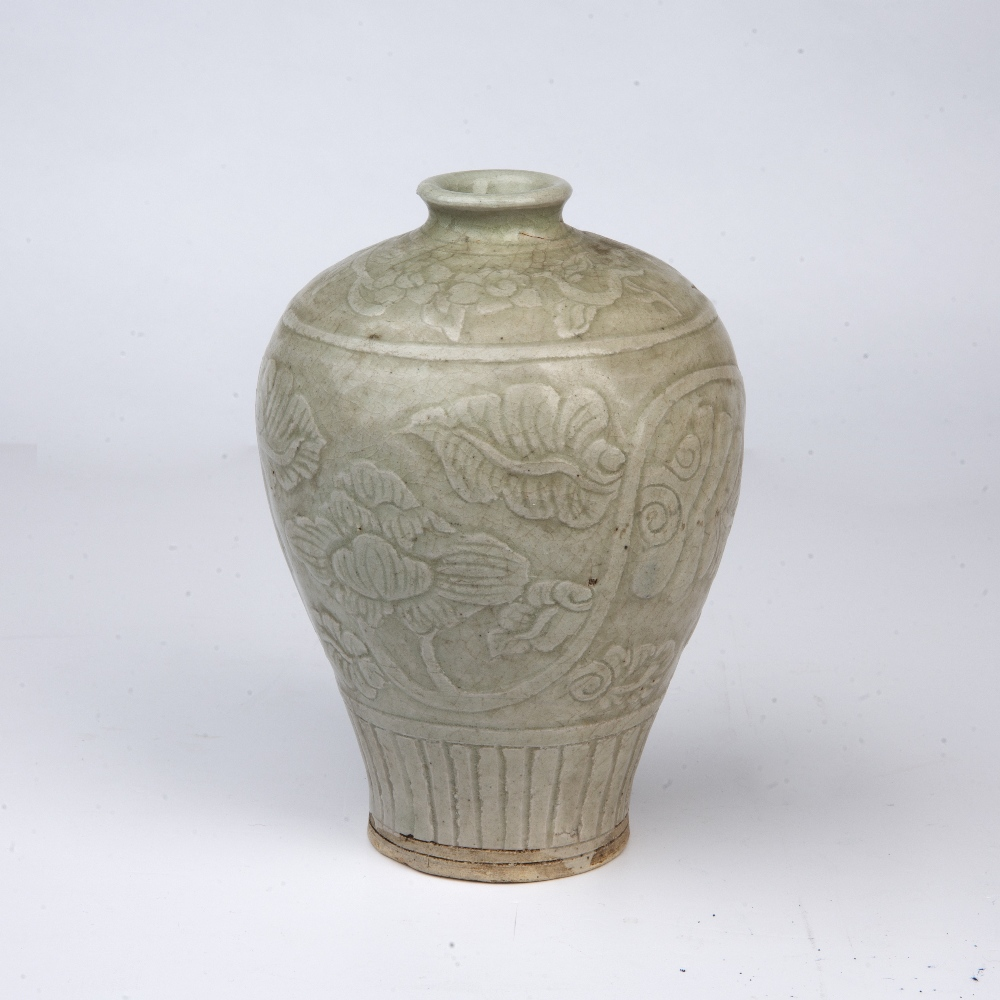 Longquan celadon Meiping vase Chinese, Southern Song dynasty (1127-1279) with incised carved - Image 2 of 4