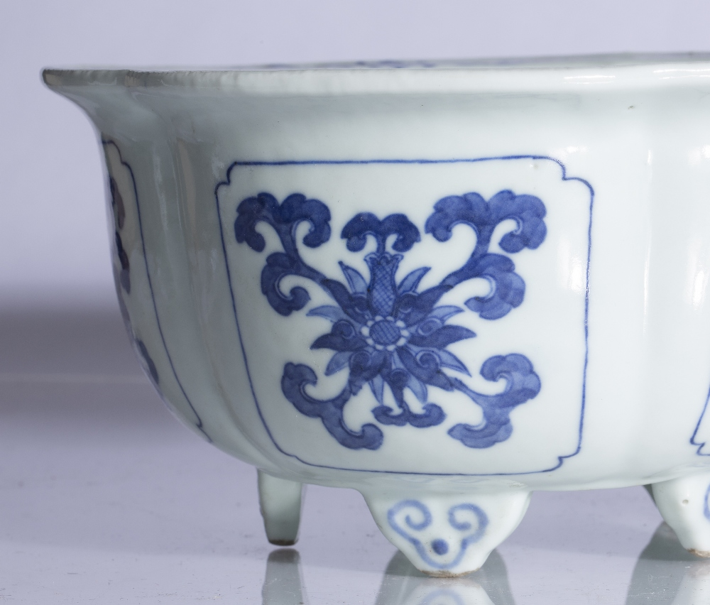 Fine pair of blue and white five lobed jardinieres Chinese, Yongzheng mark and period each lobe - Image 5 of 9