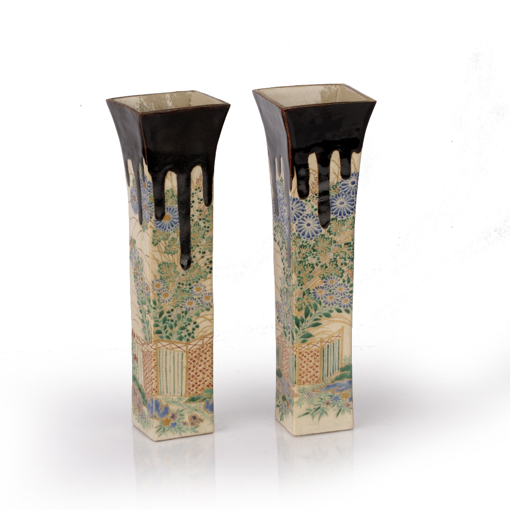 Pair of slender vases Japanese, 20th Century decorated to all four sides with flowering plants