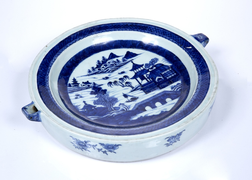 Blue and white porcelain plate warmer Chinese, 19th Century decorated to the centre with a river - Image 3 of 3