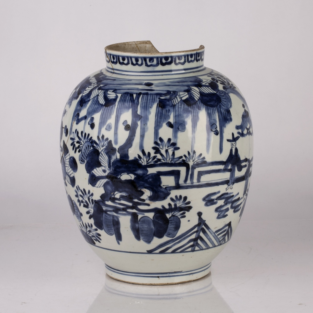 Arita blue and white jar Japanese, Edo period circa 1655-1670s decorated to the body with figures - Image 2 of 4