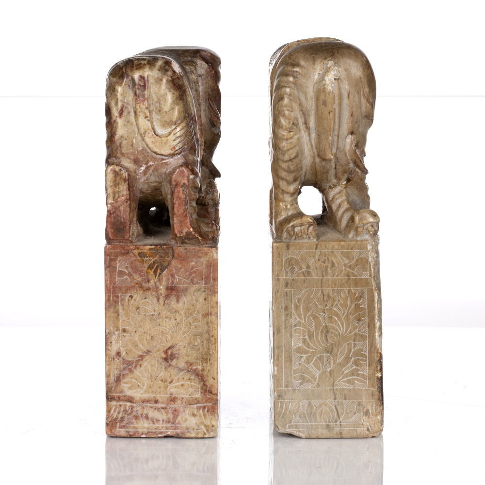 Pair of soapstone seals Chinese, 19th Century each with elephant mounts and having engraved sides, - Image 2 of 5