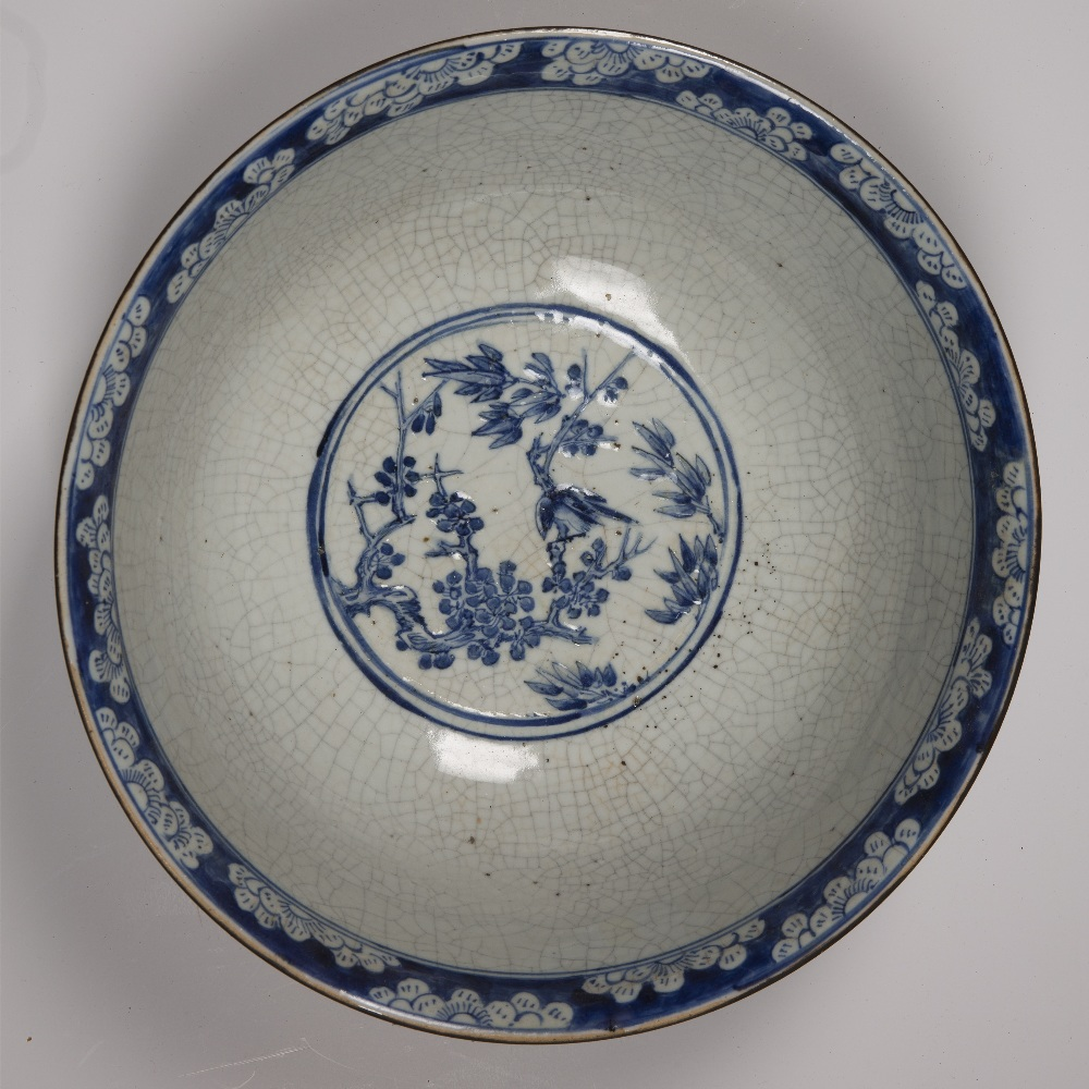 Crackleware blue and white punch bowl Chinese, 19th Century decorated to the exterior with flowering - Image 4 of 6