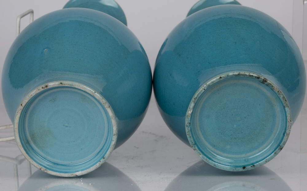 Pair of turquoise vases Chinese with a lobed design to the neck of the vases, 30.5cm high (2) - Image 4 of 4