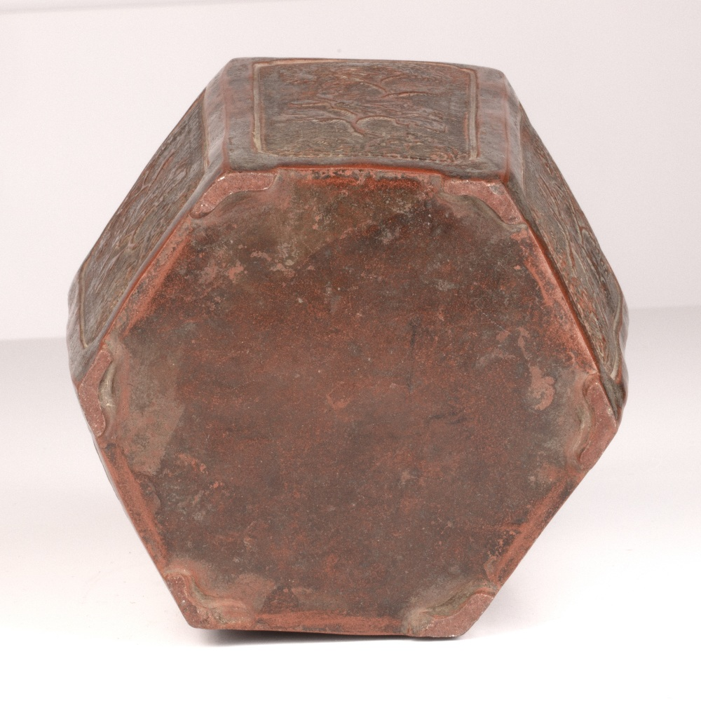 Yixing tea caddy Chinese of hexagon form, with each side modelled in relief with flowering tree - Image 3 of 4