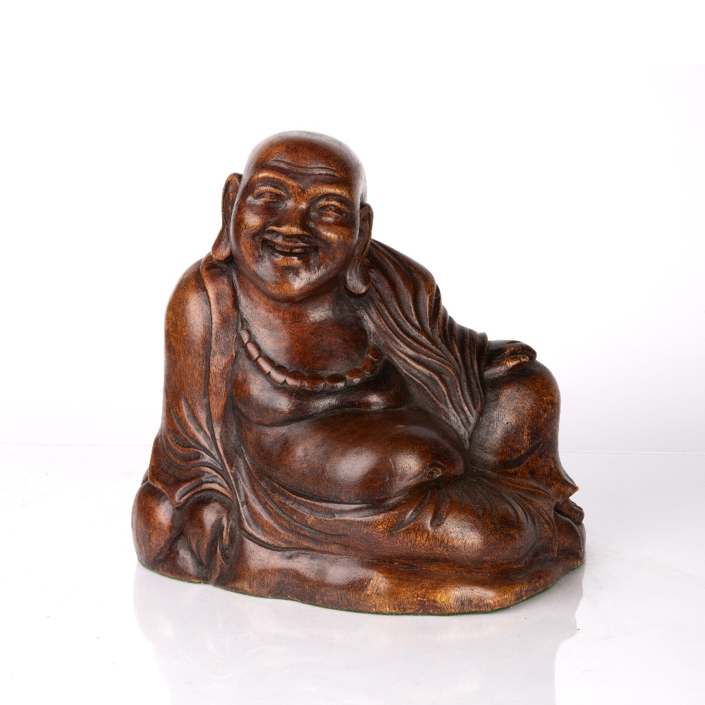 Wooden figure of Maitreya Chinese, early 20th Century dressed in traditional robes, with one hand