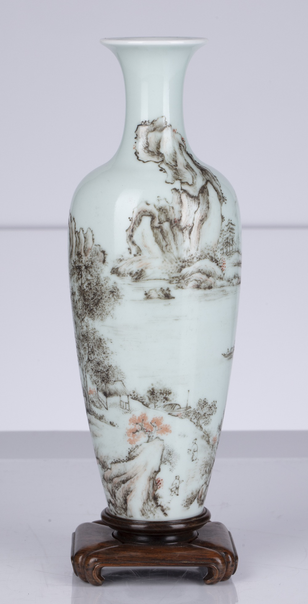 Famille rose and grisaille 'Landscape vase' Chinese, Republic period the slender body decorated with - Image 2 of 4