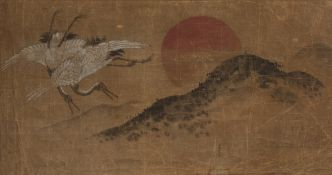 19th/20th Century Japanese 'Two Cranes at sunrise' watercolour on paper, unsigned, 36cm x 71cm