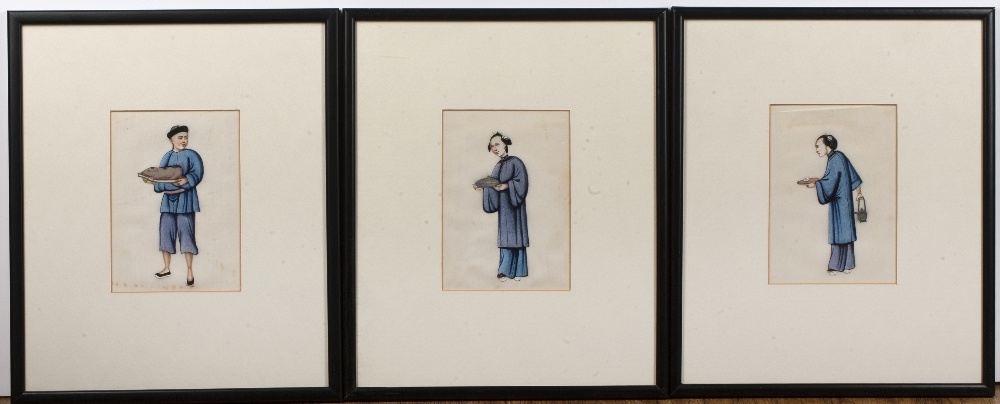 Collection of three pith or rice paper studies of various figures at work, unsigned, each measures - Image 2 of 3