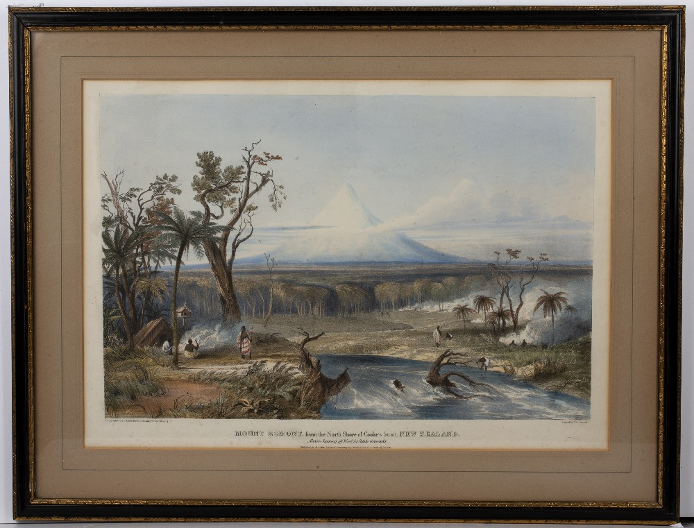 After Charles Heaphy (1820-1881) Mount Egmont, coloured lithograph pub'd by T Allom, 43.5cmx 60cm - Image 2 of 3