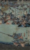 Two Japanese woodblock prints one with samurai in foreground, 35cm x 22cm and one other of a