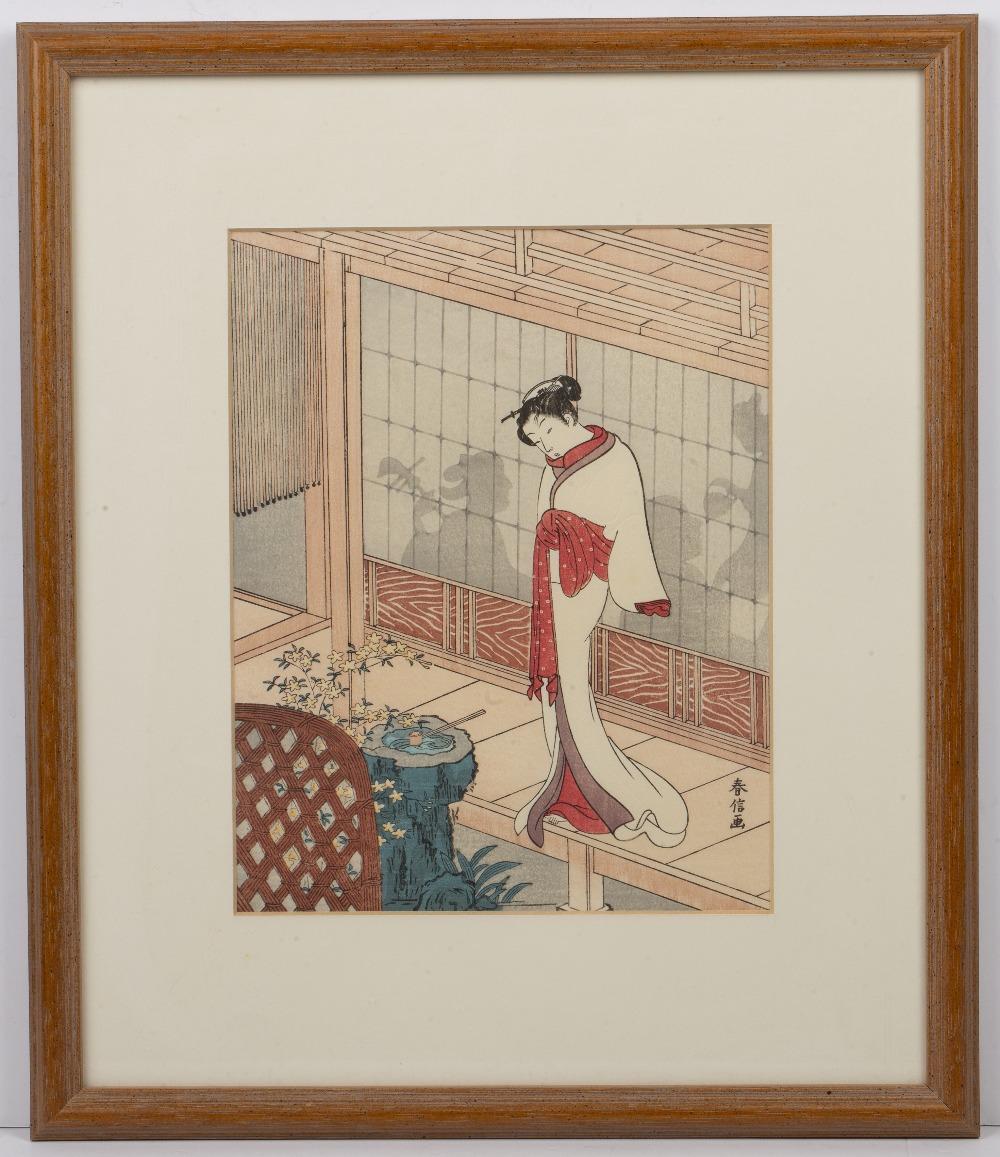 Suzuki Harunobu (1724/25-1770) 'Beautiful woman on the edge of a veranda' Japanese woodblock, 23.5cm - Image 2 of 3