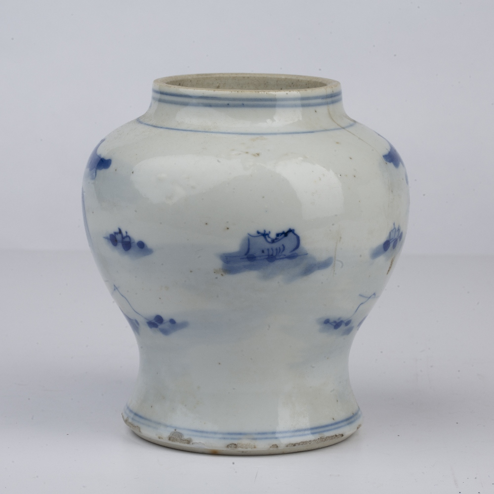 Blue and white landscape vase Chinese, 19th Century painted to the exterior with a river landscape - Image 2 of 4