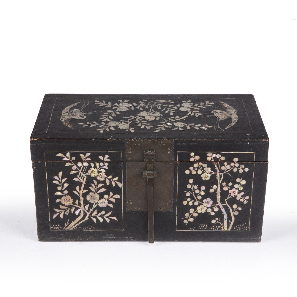 Lacquer and mother of pearl box Korean, Joseon dynasty having panels of peaches and herons to the