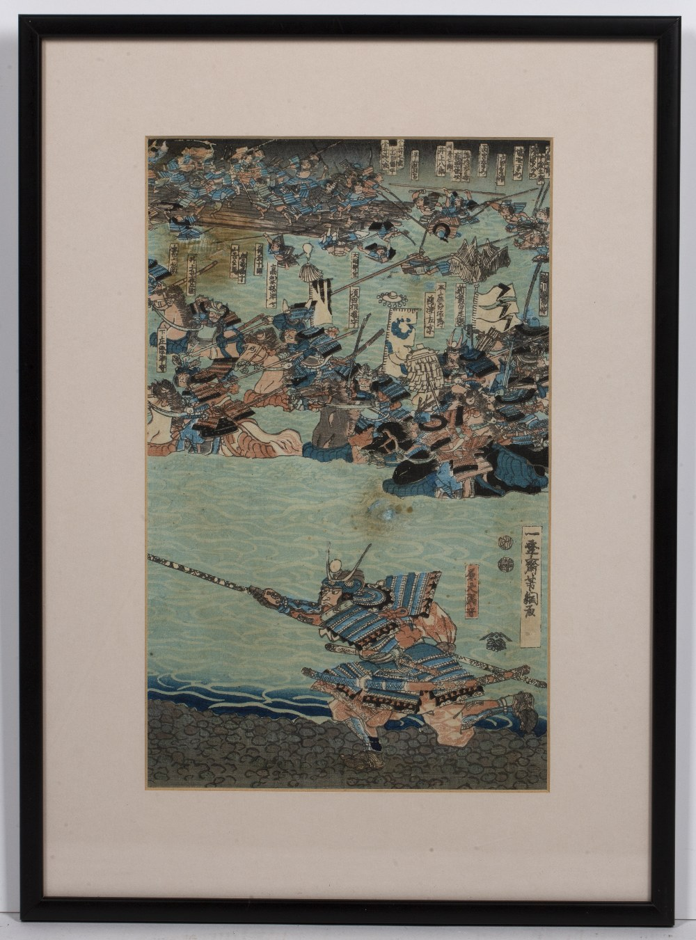 Two Japanese woodblock prints one with samurai in foreground, 35cm x 22cm and one other of a - Image 3 of 6