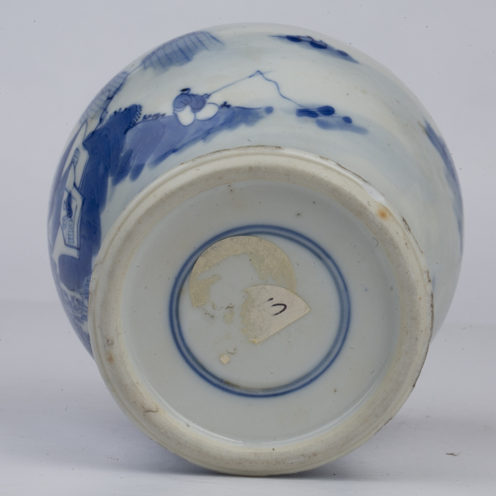 Blue and white landscape vase Chinese, 19th Century painted to the exterior with a river landscape - Image 4 of 4