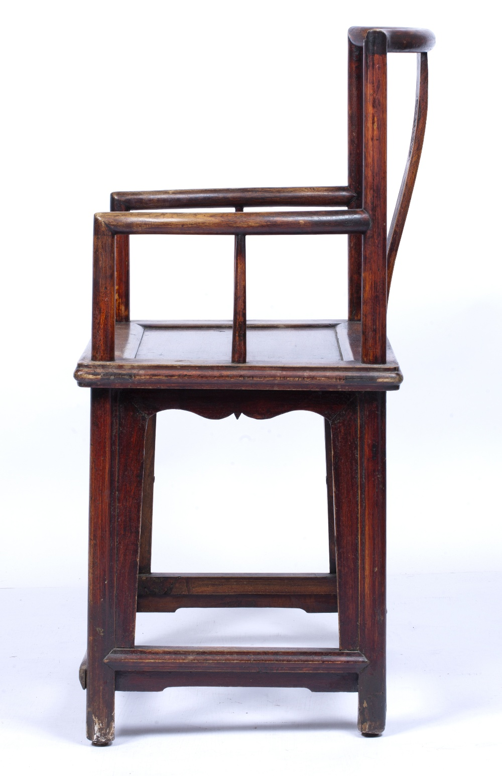 Ming style throne chair Chinese, 19th Century with roundel carved to the back, 95.5cm high, 57cm - Image 5 of 5