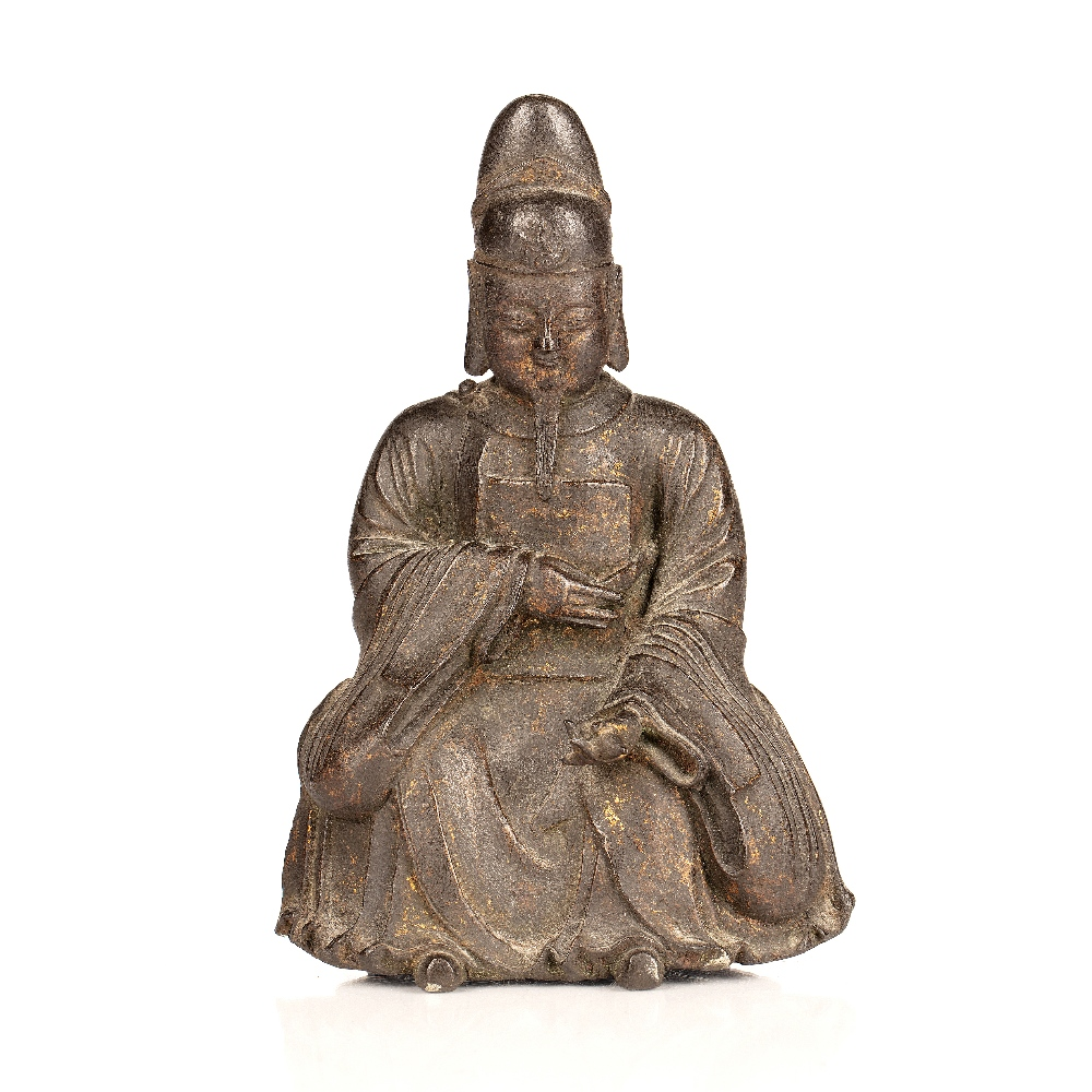 Bronze figure Chinese, Ming period depicting an official sitting down in his traditional robes, with