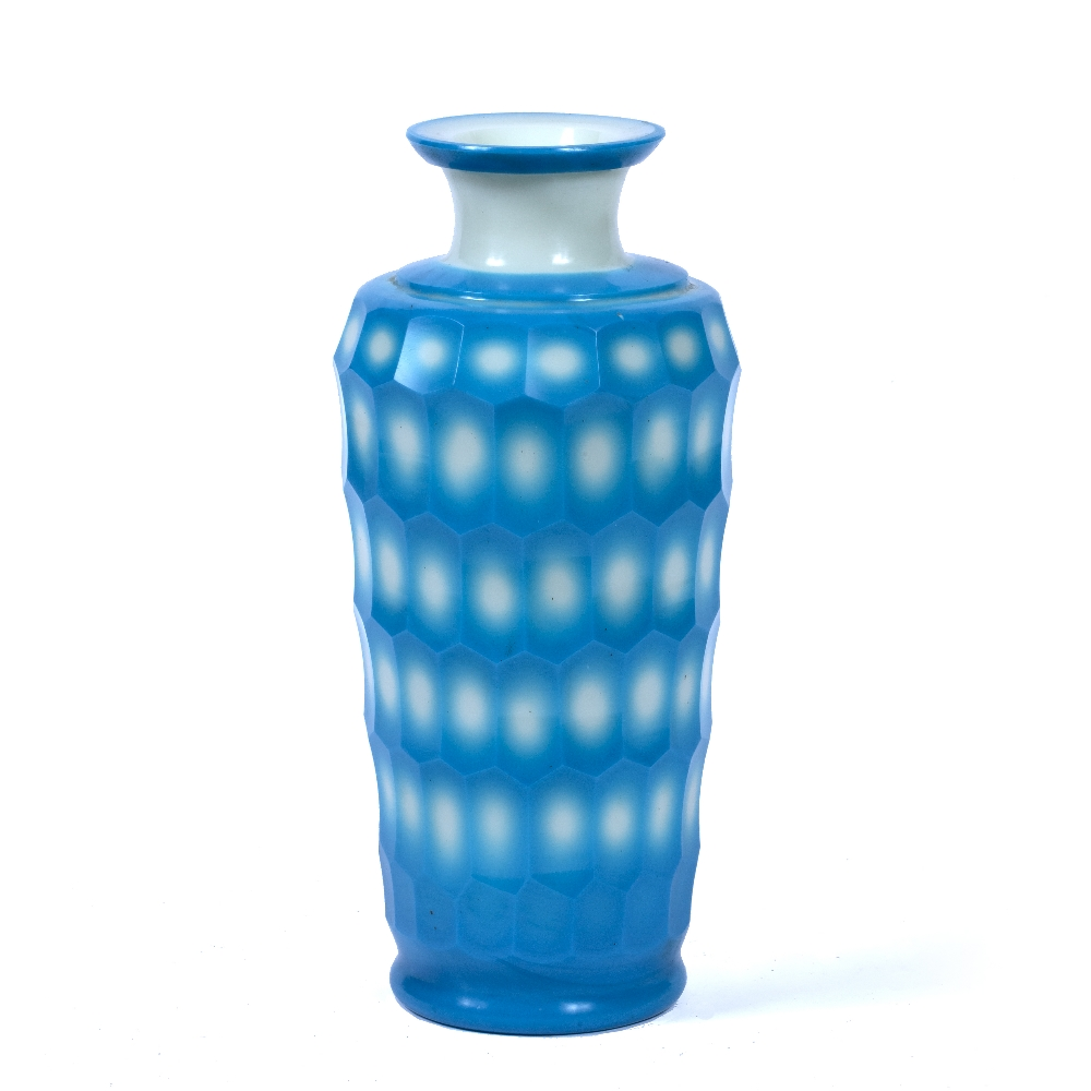 Peking glass vase Chinese, 18th/19th Century the body of ribbed form, decorated in hues of blue