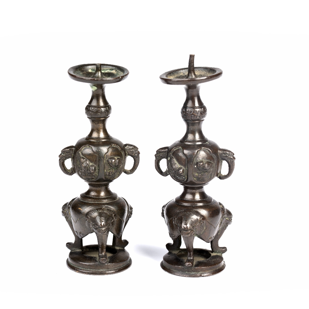 Pair of bronze miniature pricket candle sticks Japanese, Meiji period formed as a slender double