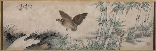 Rong Sushi (1901-1996) depicting a quail amongst bamboo, ink on paper, signed top left, dated