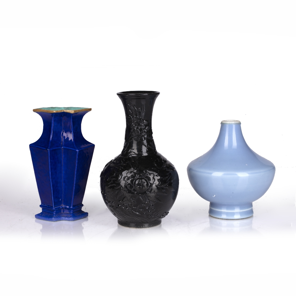 Three monochrome vases Chinese comprising of a squat blue globular vase with six character Yongzheng