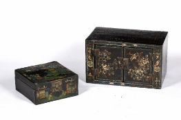 Two lacquer and painted boxes Chinese each with painted decoration and brass locks, 45cm and 27.5cm