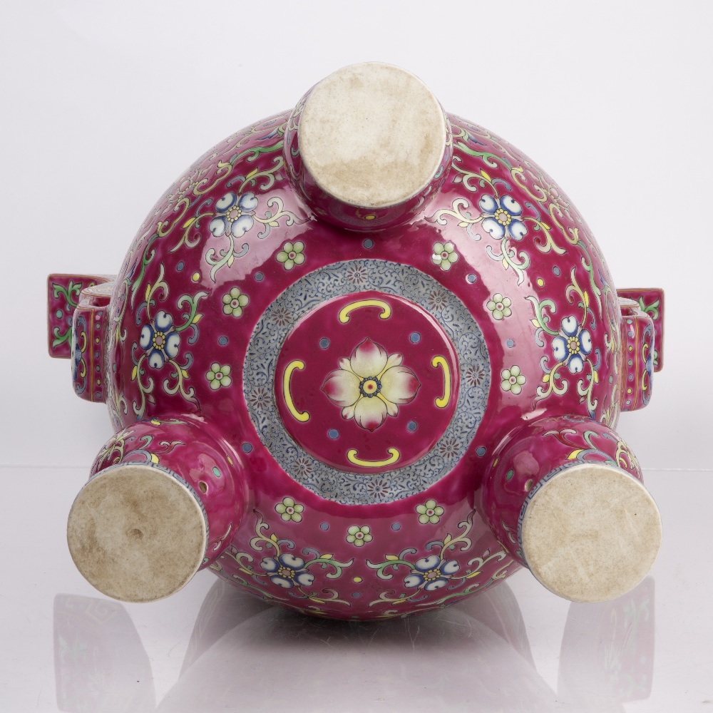 Porcelain 'Bajixiang' tripod censer Chinese, 18th/19th Century decorated with famille rose enamels - Image 10 of 12