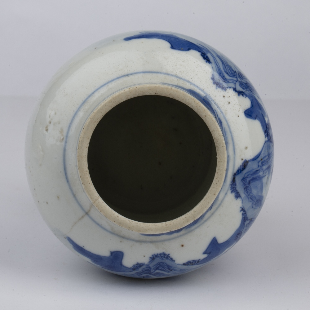 Blue and white landscape vase Chinese, 19th Century painted to the exterior with a river landscape - Image 3 of 4