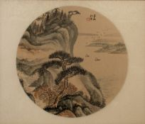 Chinese 19th/20th Century two framed painting on silk studies, one of a landscape in circular mount,