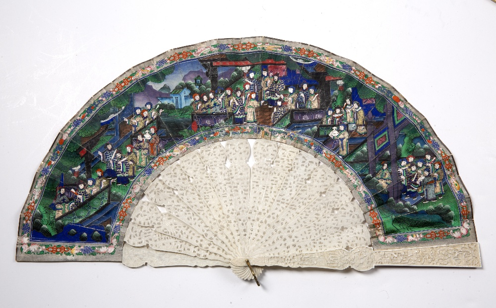 Ivory and painted brise fan Chinese, 19th Century the paper decorated with a village scene within