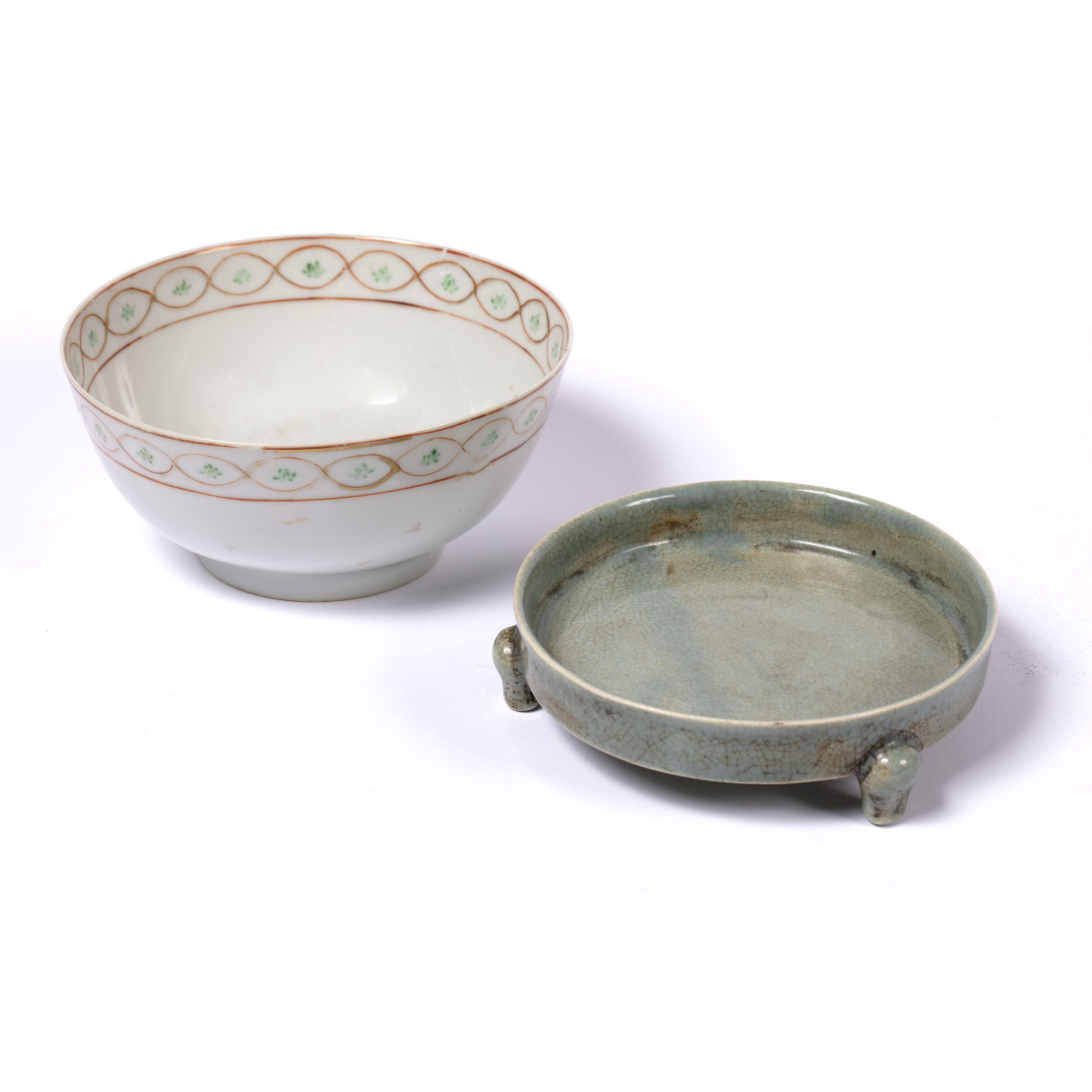 Porcelain sweetmeat dish Chinese, Qianlong of circular form and greenish celadon-type glaze, with