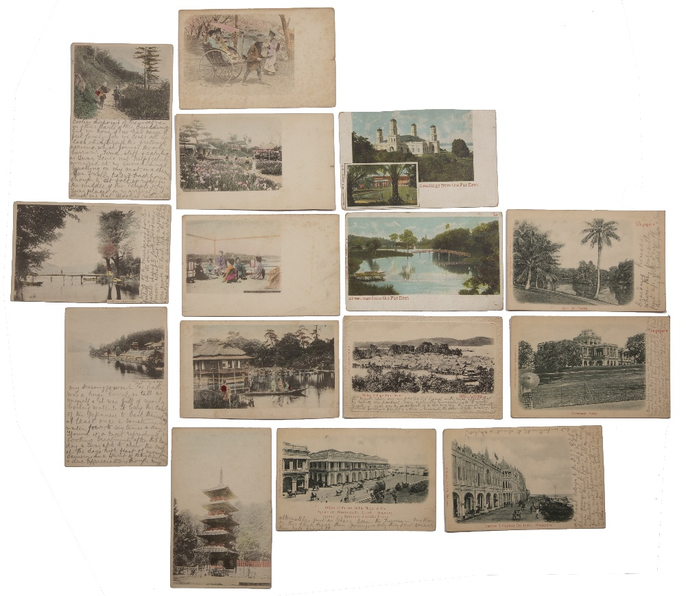 Collection of postcards including hand painted examples Malaya, Singapore, Japan and China circa