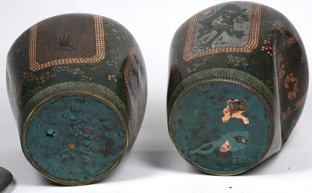 Pair of green square section cloisonne vases Japanese each with foliate designs, 48cm high - Image 4 of 4