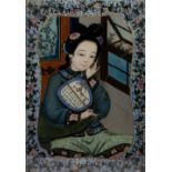 Export reverse painting on glass Chinese, circa 1858 depicting a court beauty Note-the identical