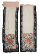 Two silk and embroidered skirt fronts Chinese each with kesi stitch, 85cm and 95 cm long