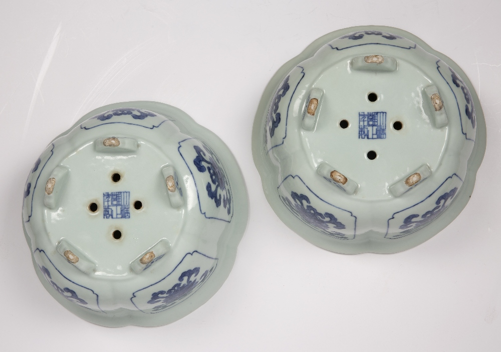 Fine pair of blue and white five lobed jardinieres Chinese, Yongzheng mark and period each lobe - Image 7 of 9