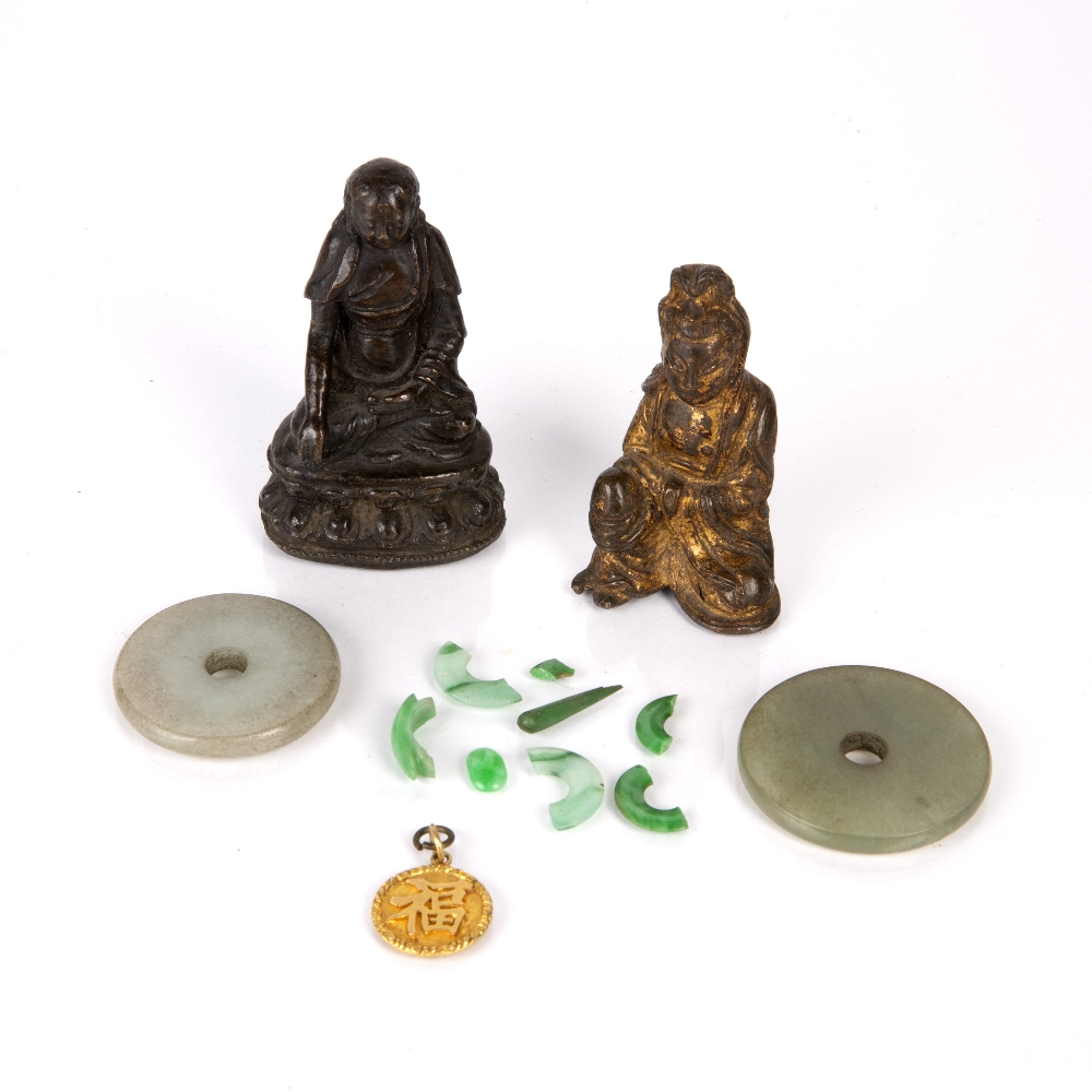 Group of objects Chinese to include two bronzes of figures, hard stone carvings and a gold